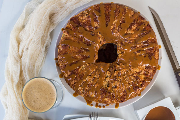 Spiced Coffee Cake with a Caramel Rum Glaze