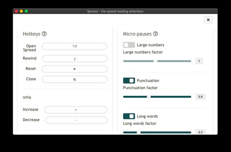 screenshot of Spreed PRO settings