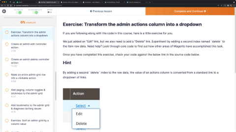 Exercise: Transform the admin actions column into a dropdown