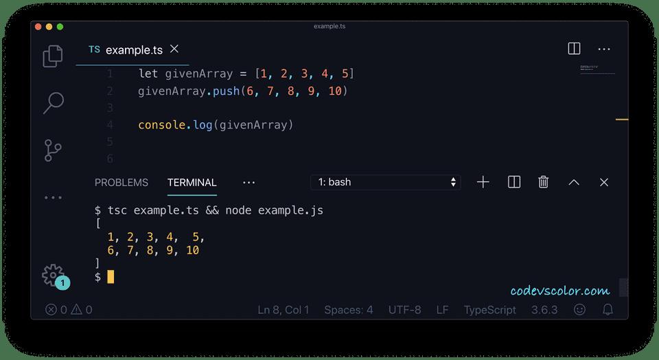 TypeScript array add elements push