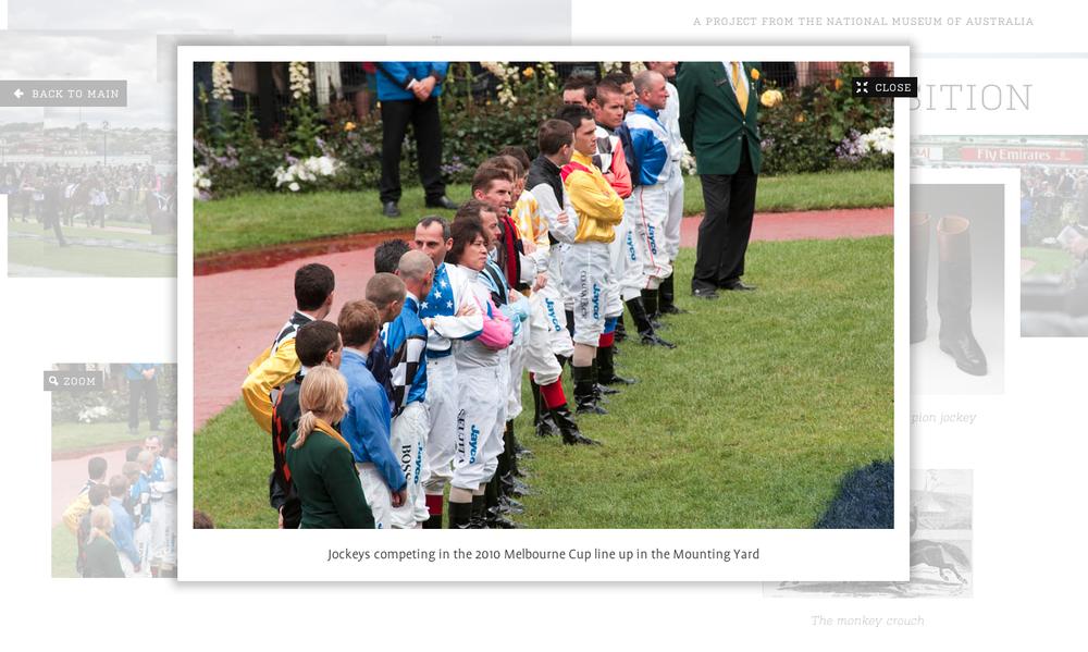 An image of jockeys lining up