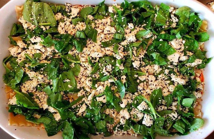 Lasanga layers with spinach tofu ricotta