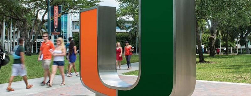 Large orange and green U on the University of Miami campus
