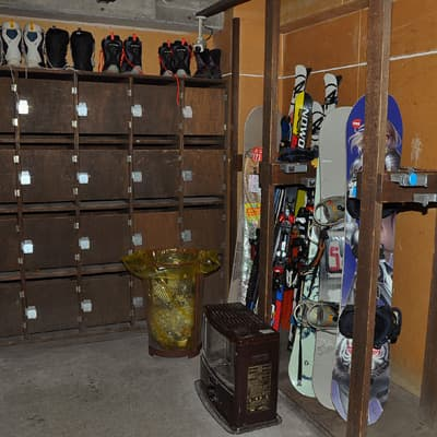 Locker space available for skis, snowboards, boots