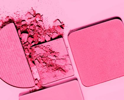 Pink powder cosmetics.