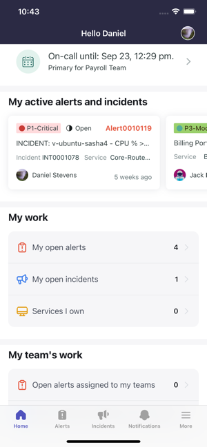 Home page of a responder