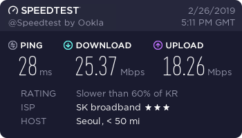 speedtest.net 테스트 결과. 다운로드 약 25Mbps