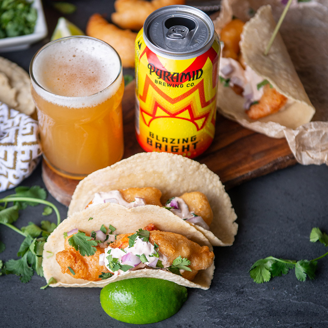 Battered Shrimp Tacos with Chipotle Sour Cream served with Blazing Bright IPA