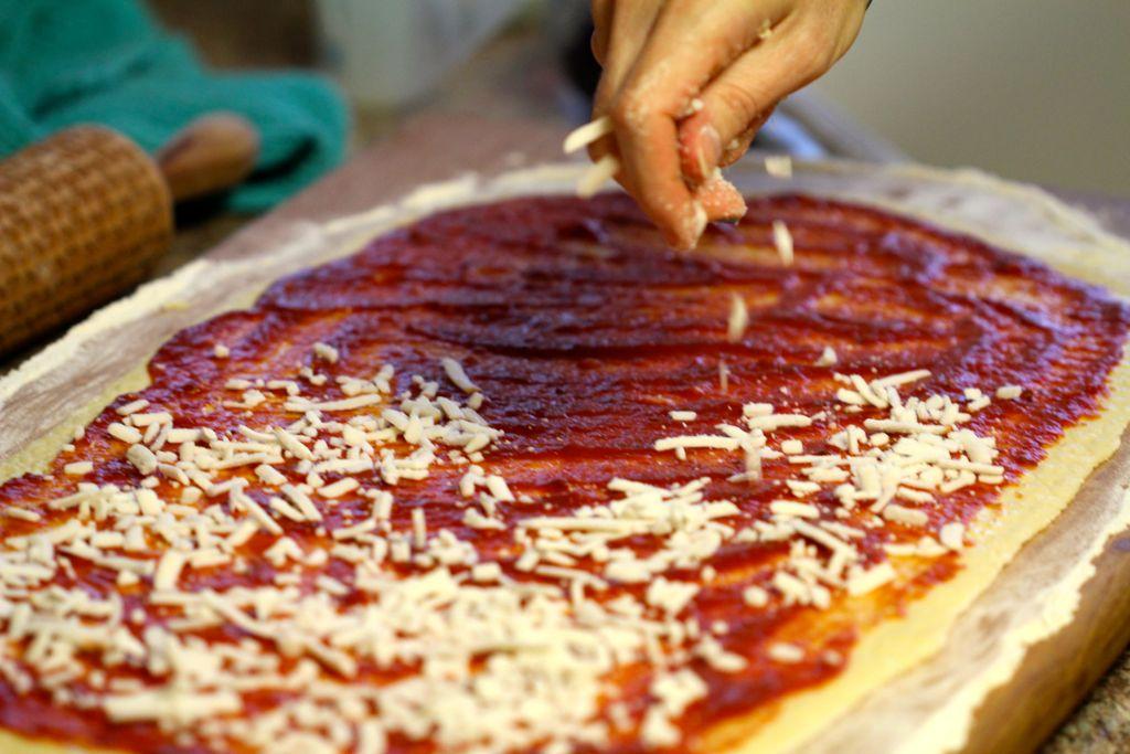 Making Pizza Pinwheels