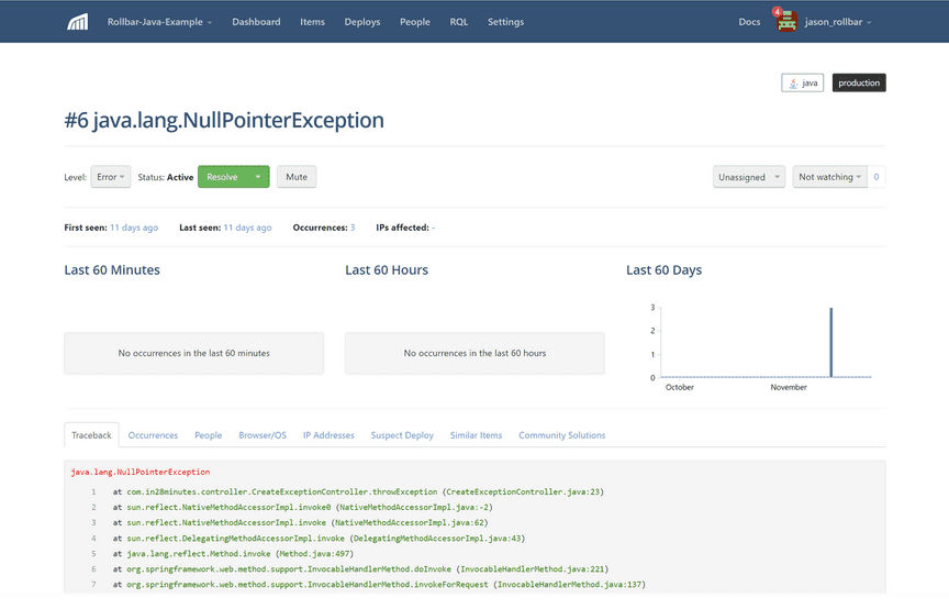Screenshot of Rollbar error item