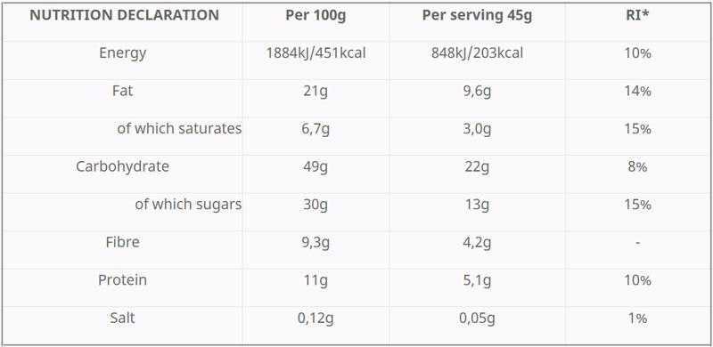 Hungry Not protein bar with cranberry, spirulina, dark chocolate, honey & tahini- 45g