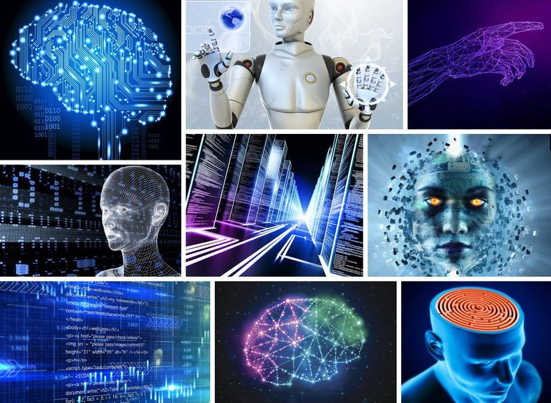 A collage of stock photos and illustrations used to visualise AI, including a wired brain, robots and cyborgs