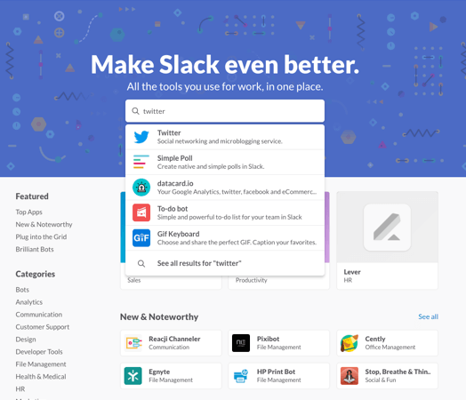 Slack公式サイトの検索窓でTwitterを検索しているところ
