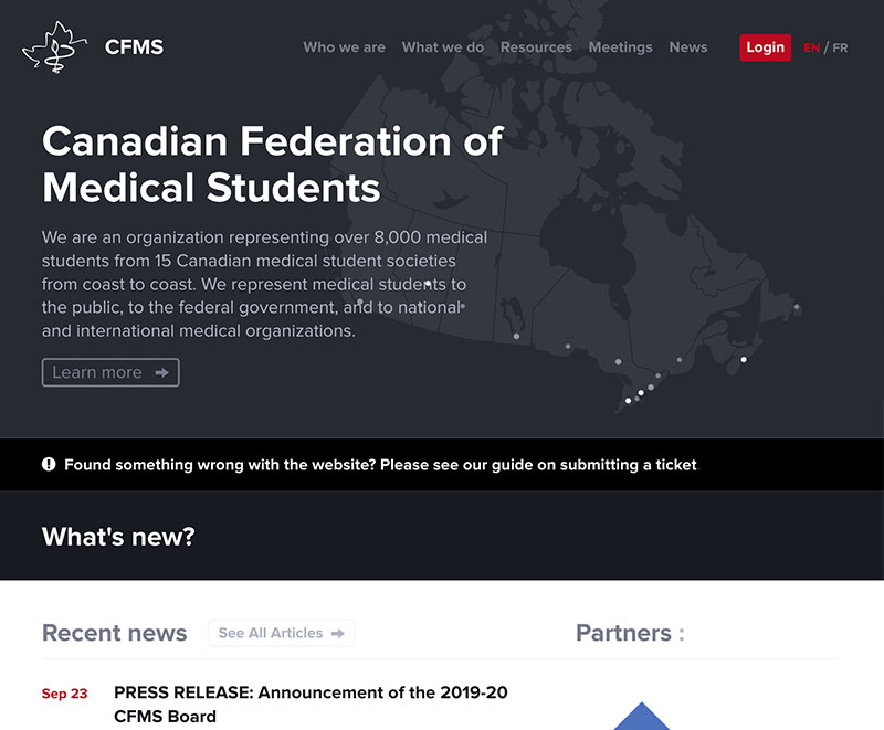 Home Page of CFMS Website