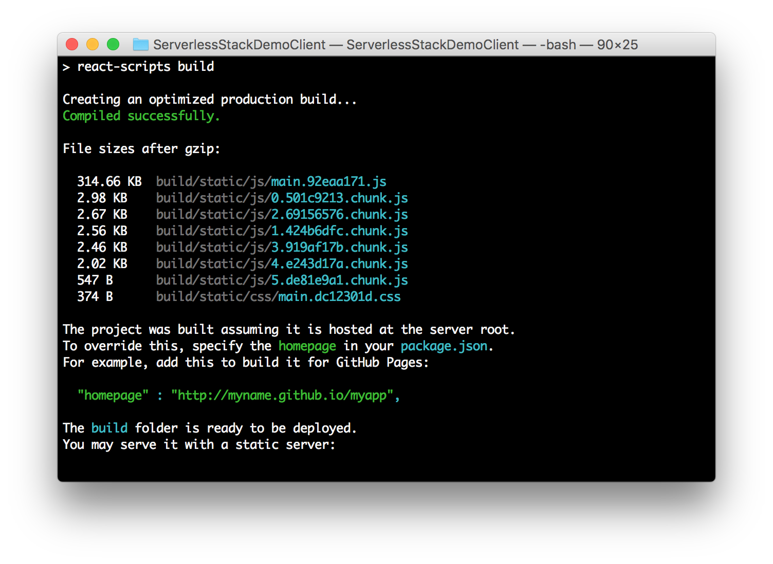 创建React应用程序代码拆分构建屏幕截图