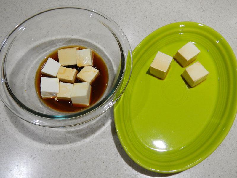 Coating Tofu With Tamari Mixture