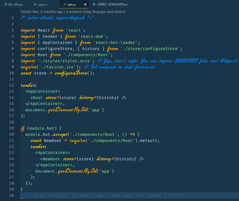 Screenshot of Visual Studio Code with some custom CSS added to change the editor