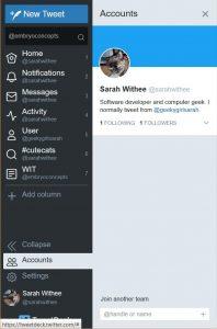 Accounts sidebar