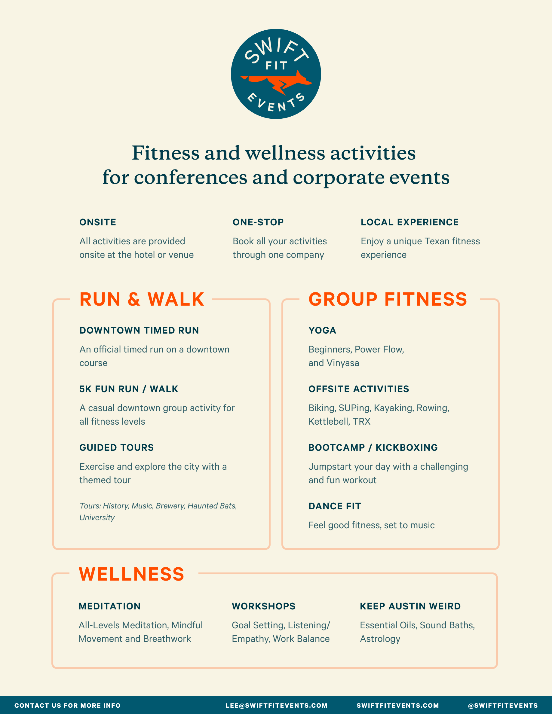 Swift Fit Events Activities