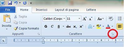 Dettaglio simbolo per aprire finestra carattere
