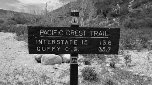 Mileage sign on the Pacific Crest Trail