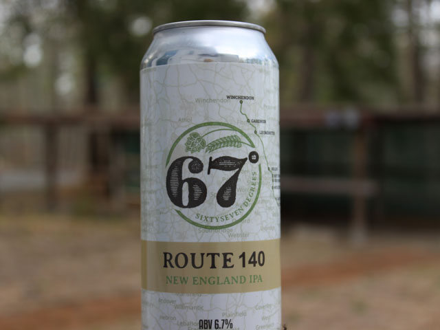 Route 140, an New England IPA brewed by 67 Degrees Brewing