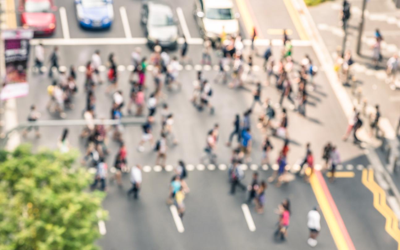 Pedestrians aerial view