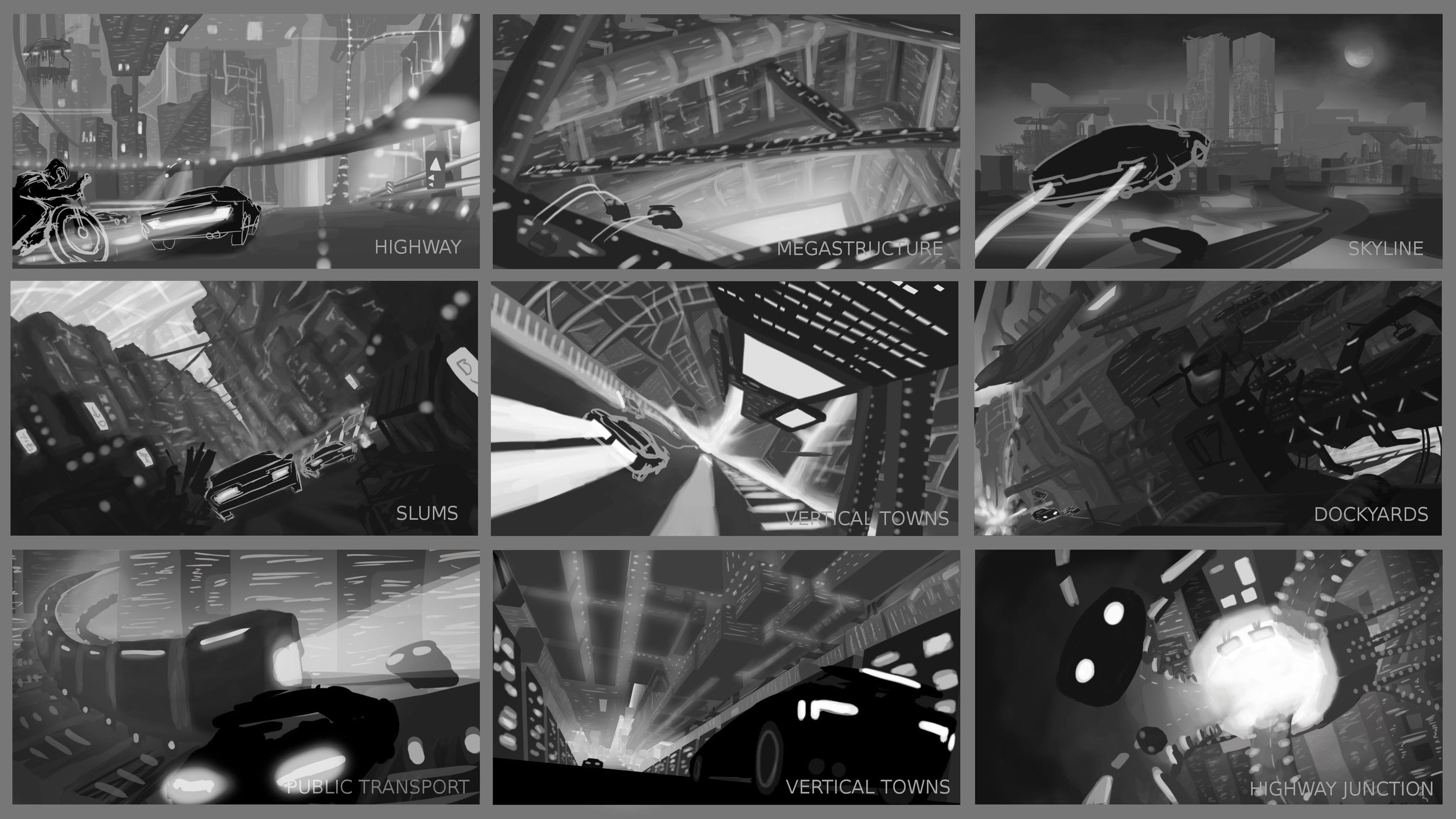 Neo-Racer: Composition Sketches