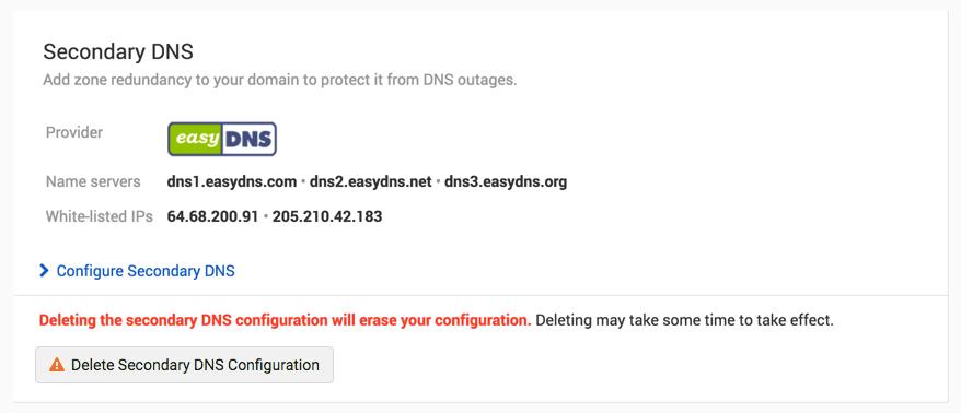 Reconfigure Secondary DNS