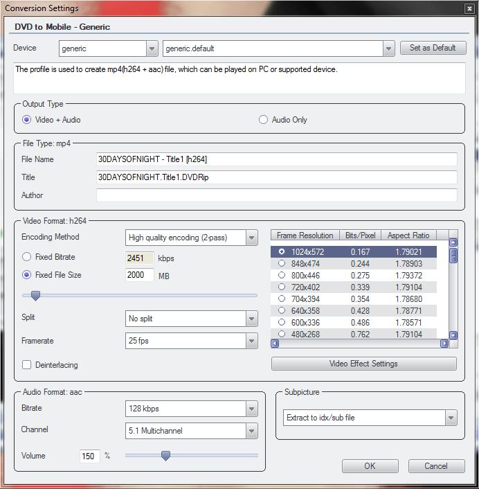 DVDFab Conversion Settings Screen