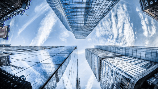 Skyscraper buildings with blue sky as real estate #business