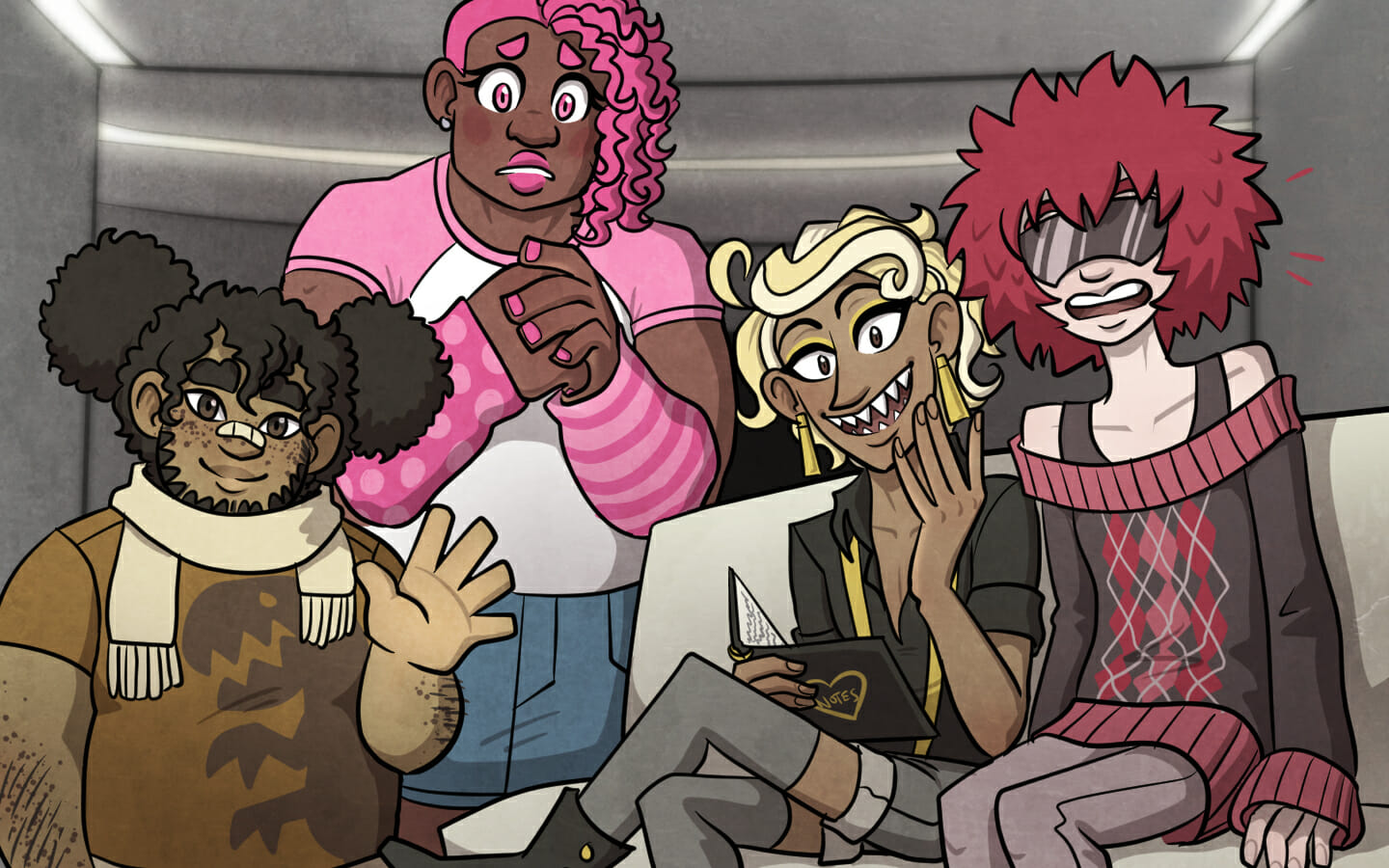There are four people in the room: a chubby boy with his hair pulled up into pigtails that resemble pompoms, a large muscular girl with pink hair and a worried expression, a blond demiboy with shark-like teeth wearing suspenders and shorts with leggings, and a person with a large tuft of red hair, a sunglasses-like visor, and an argyle sweater.