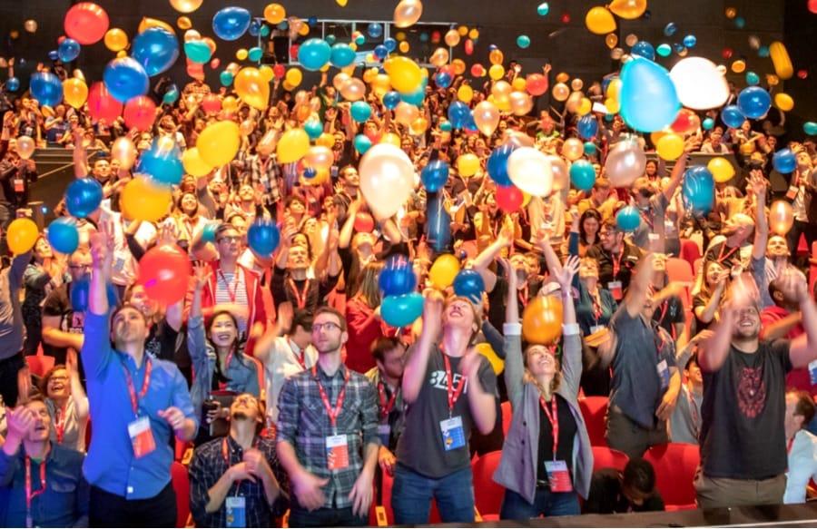 A lot of balloons at SmashingConf SF 2019.