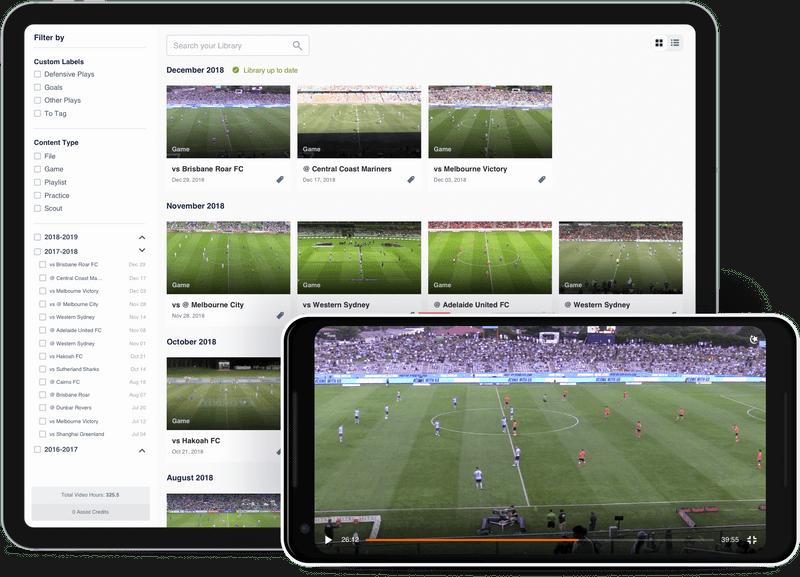 Hudl 映像ライブラリを映すタブレットとスマートフォン