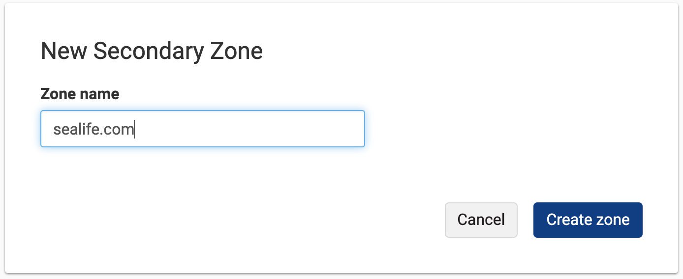 Secondary Zone form