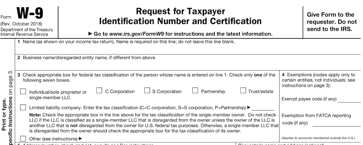 IRS W-9 Request for Taxpayer Identification Number and Certification Form
