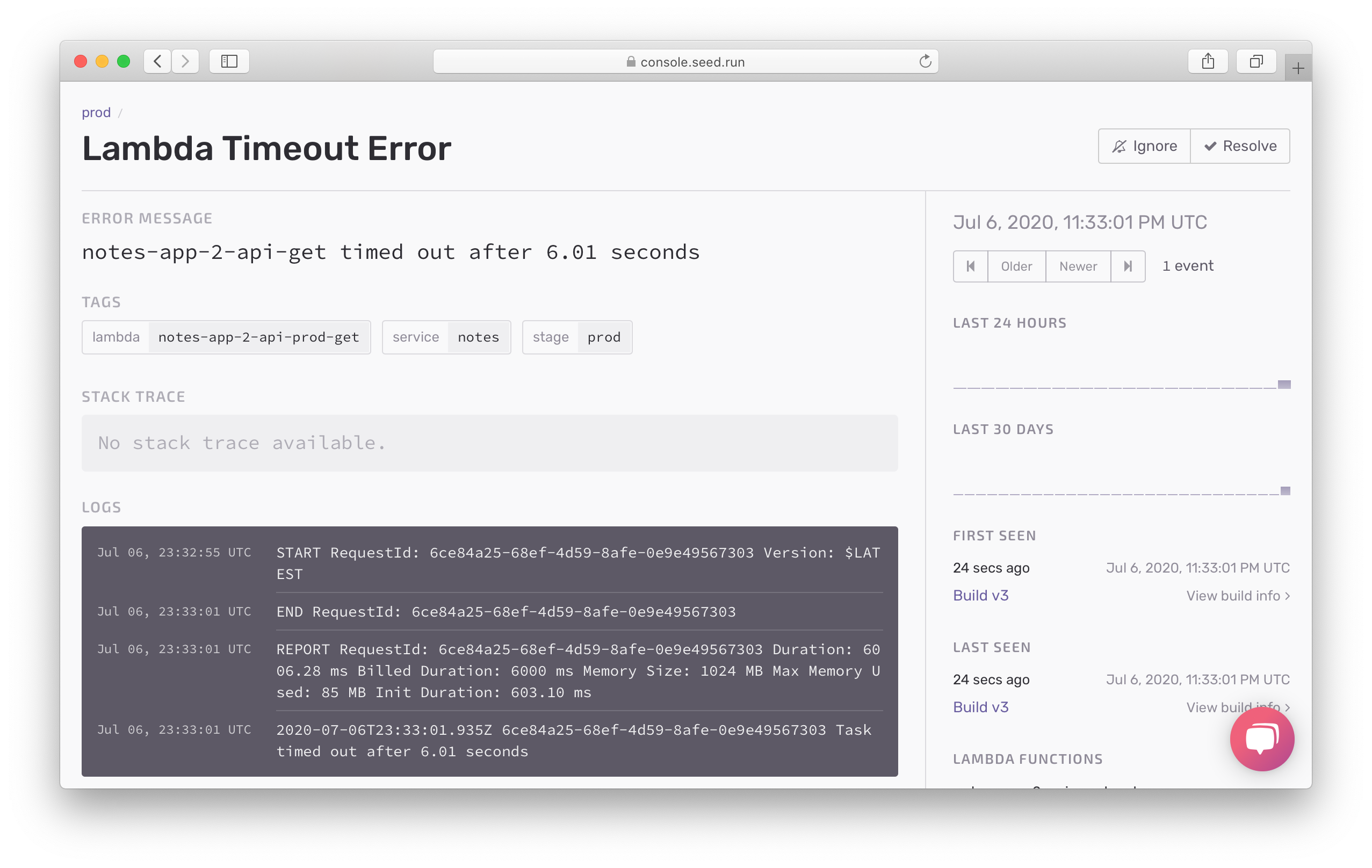 Timeout error details in Seed