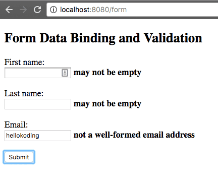 Spring Boot Form Binding and Validation