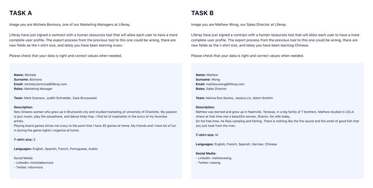 Test tasks. Environment A (left), environment B (right).