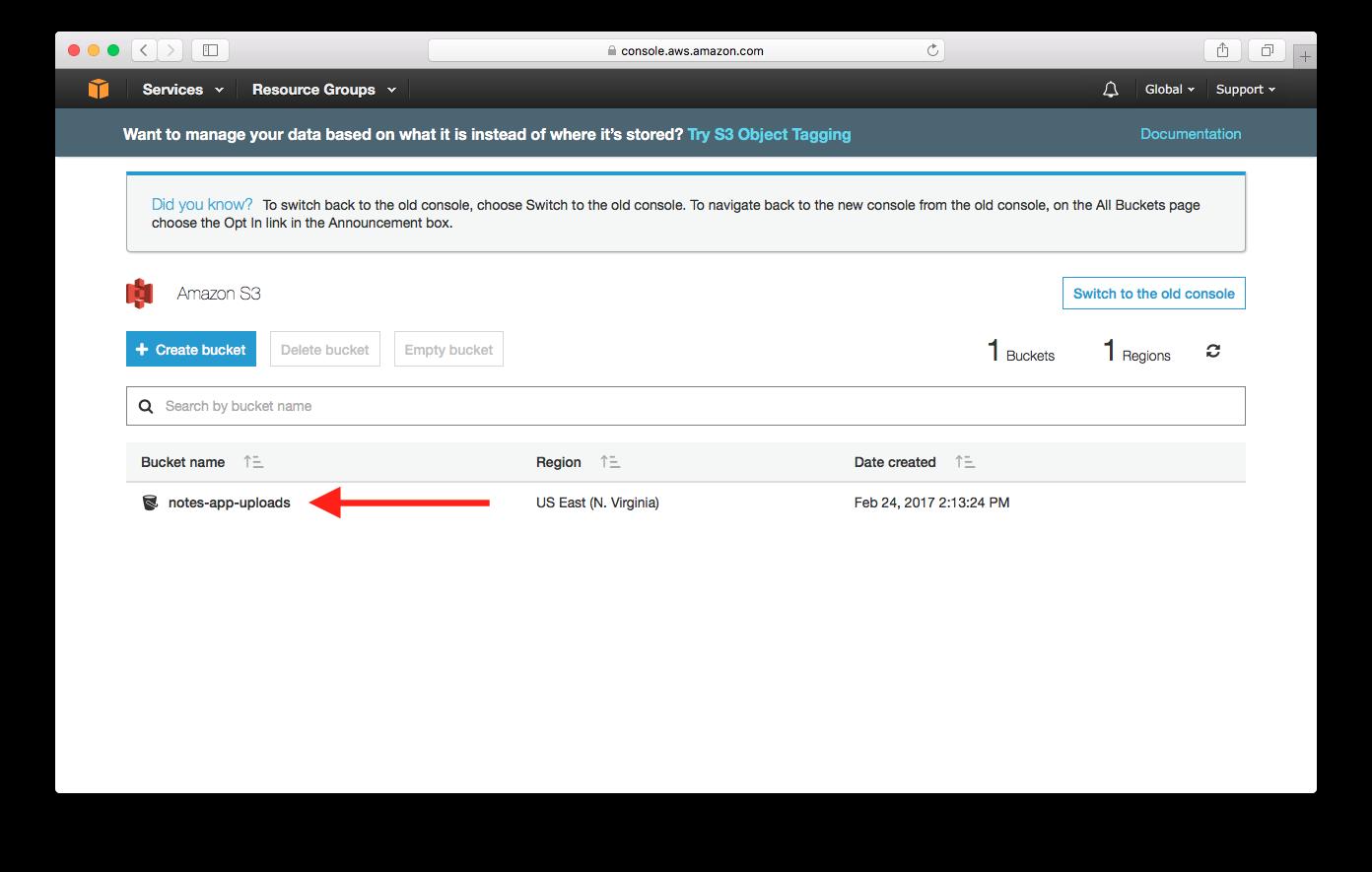 Select Created S3 Bucket screenshot