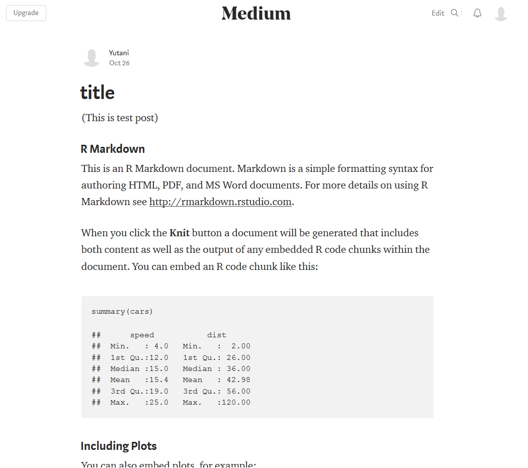 Publish R Markdown to Medium via An RStudio Addin | Wannabe