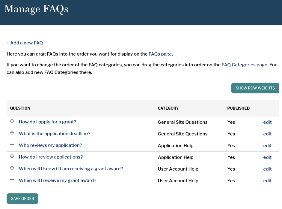 Manage FAQs page