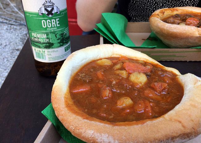 Street food goulash and a crisp Hungarian beer