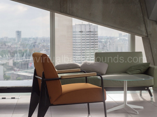 Stylish Private Office Virtual Background for Zoom with exposed concrete beam and retro chair
