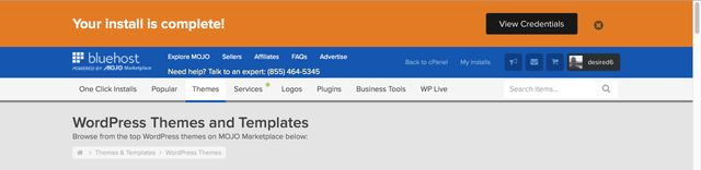 WordPress install complete
