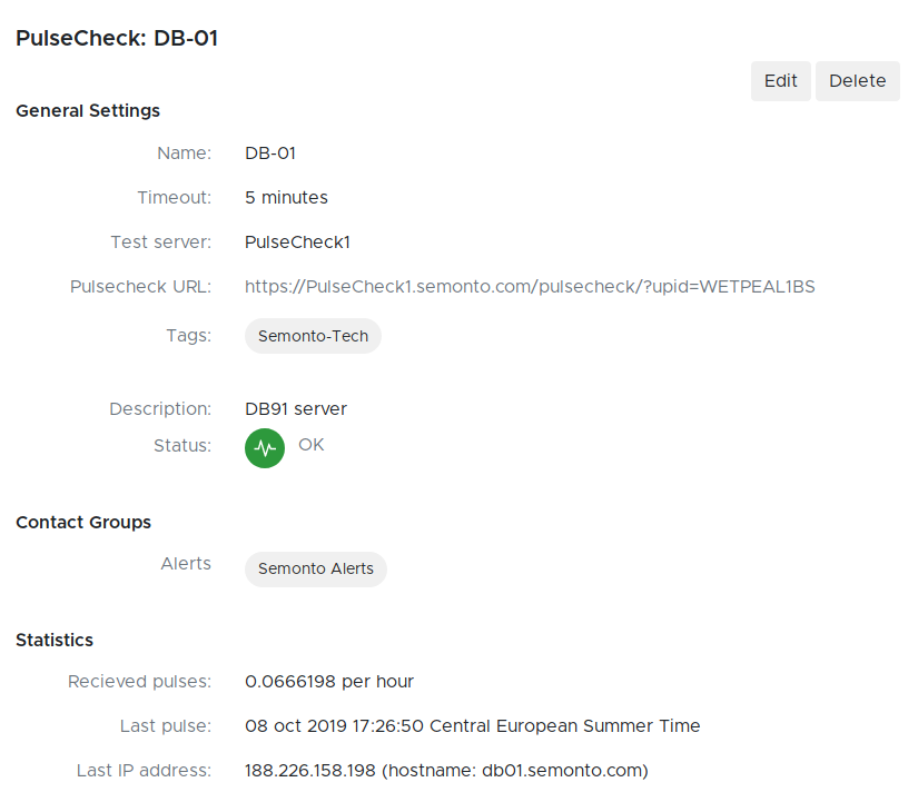 Screenshot with details of a PulseCheck with a contact group in Semonto Supervisor