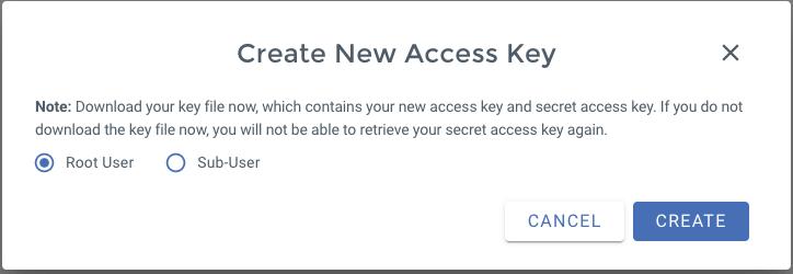 Wasabi Access Key creation form