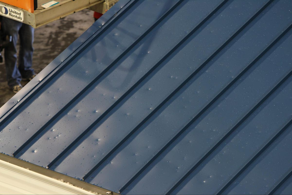 example of hail damage on a sturdy steel roof