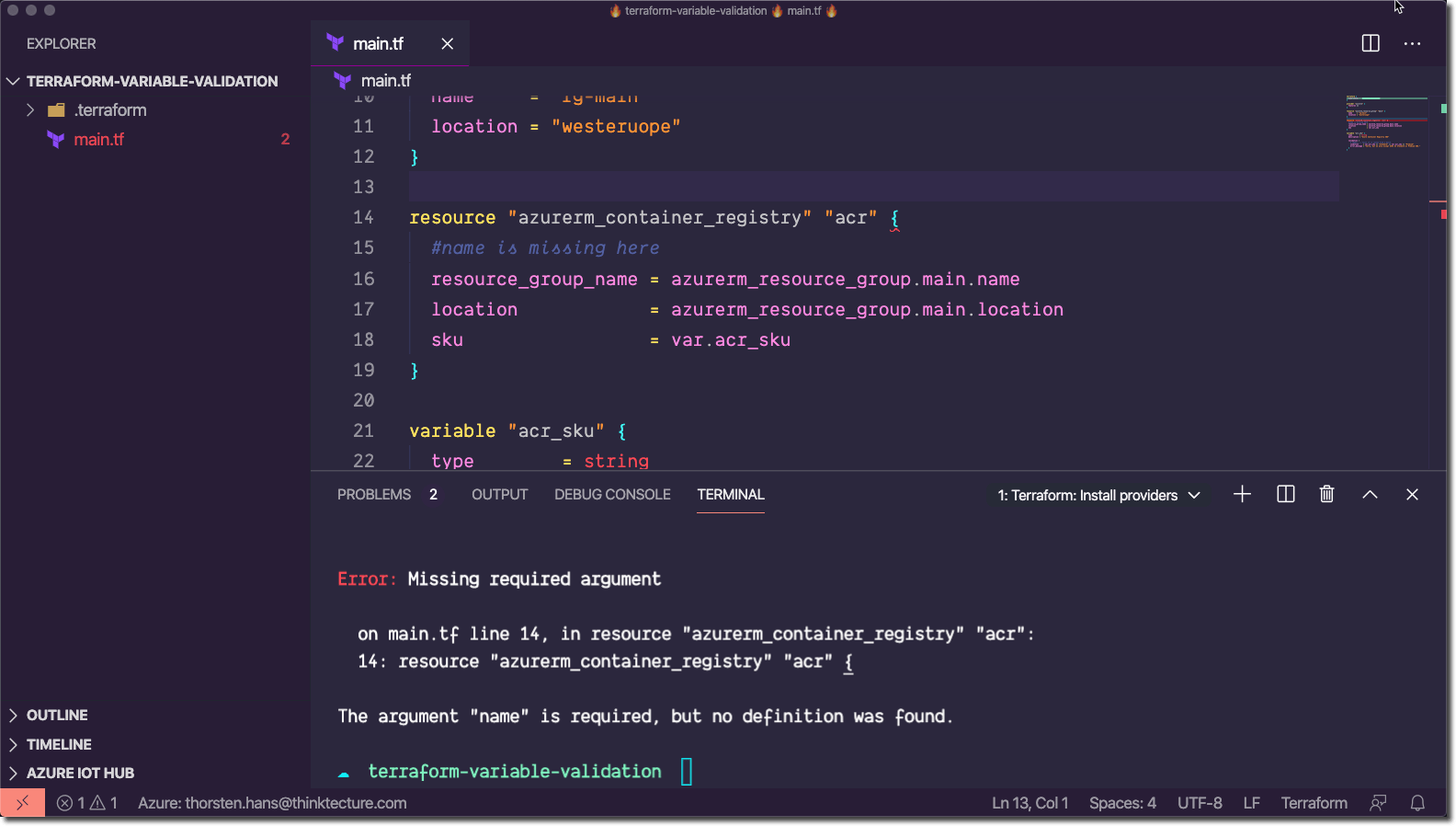 Terraform - Required property value is empty