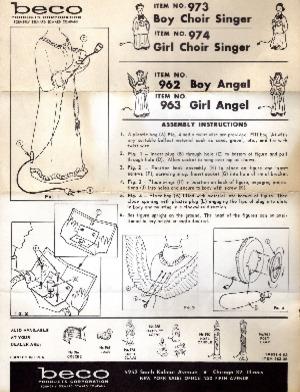 Beco Products Boy Choir Singer #973, Girl Choir Singer #974, Boy Angel #962, Girl Angel #963 Instruction Manual (06/1962) preview